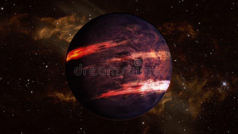 Planeta escuro do exo com os clubes das listras da atmosfera e da lava no espaço imagem de stock royalty free