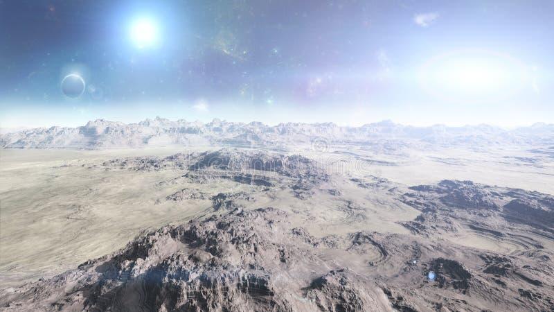 Planeta estrangeiro de superfície na ilustração do espaço -3d - 3d rendem ilustração do vetor