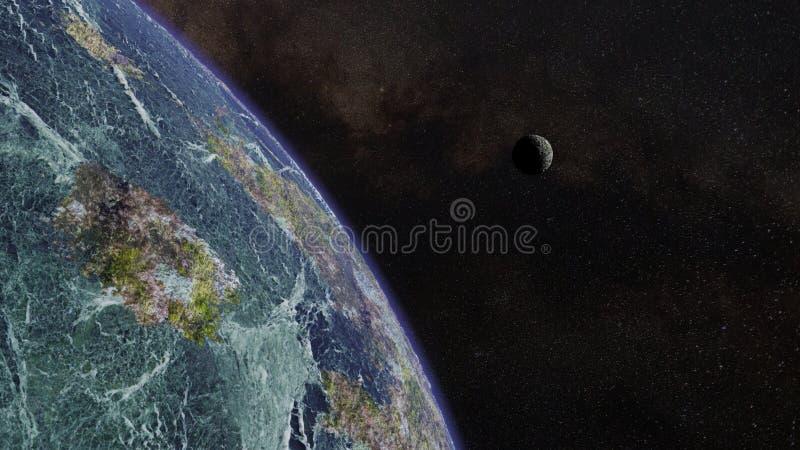 Planeta estrangeiro exótico na frente de uma lua e de um campo de estrela ilustração do vetor