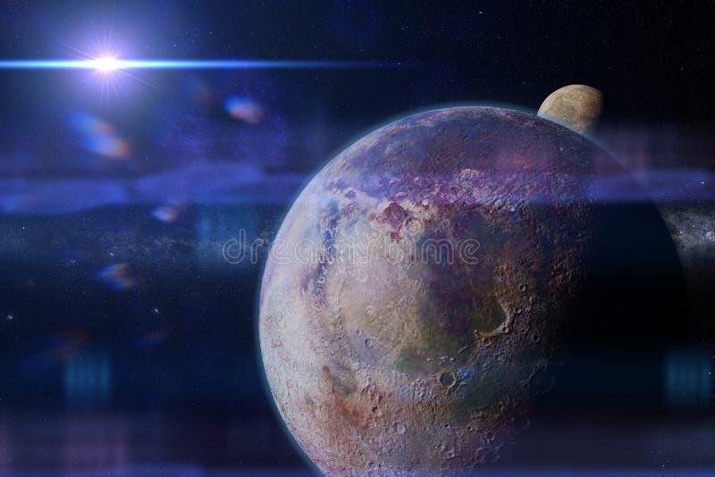 Planeta estrangeiro habitável com lua e a galáxia da Via Látea ilustração do vetor