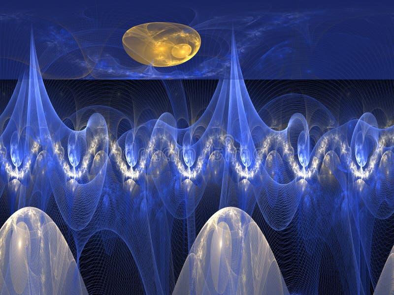 Planeta estrangeiro, planeta da fantasia em algum lugar no universo no fracta ilustração do vetor