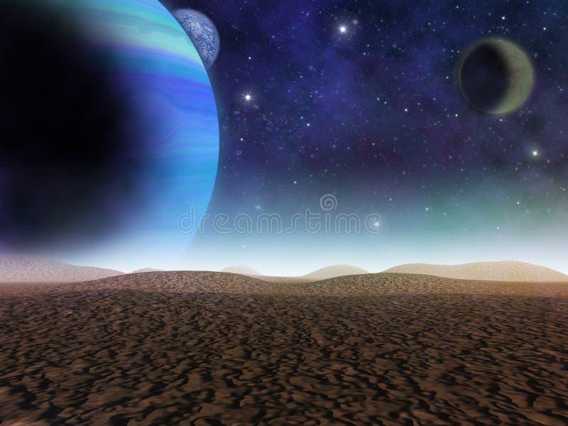 Planeta estrangeiro A vista dos planetas ilustração royalty free