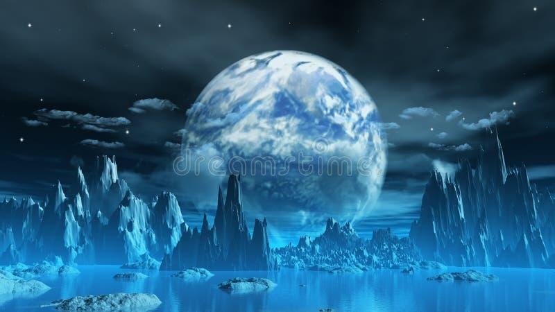 Planeta extraño del hielo stock de ilustración