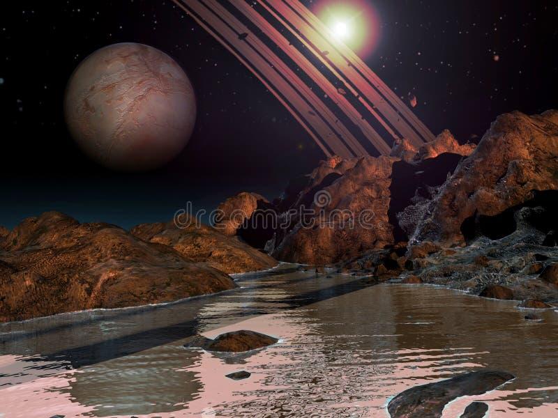 Planeta extranjero con agua libre illustration