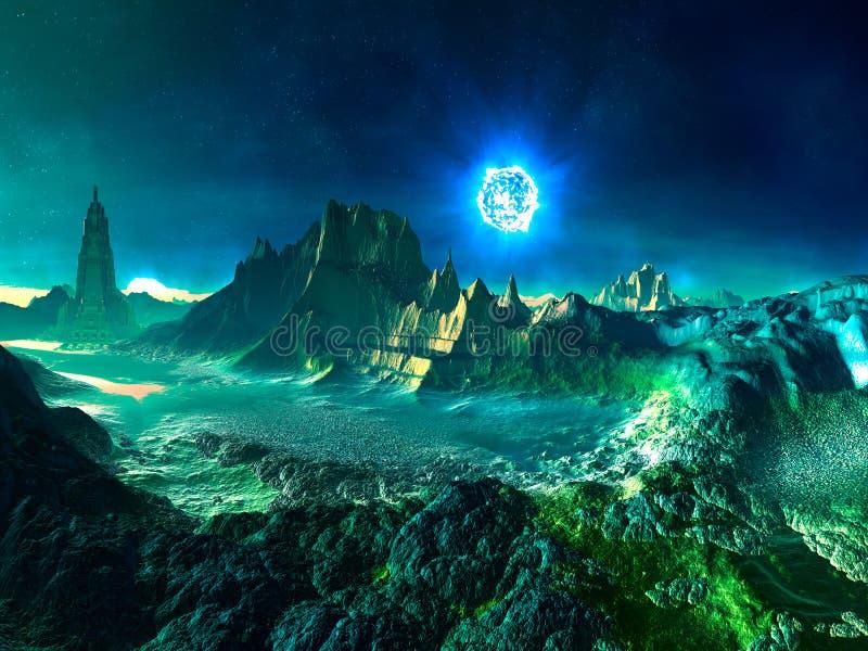 Planeta extranjero con la estrella de neutrón ilustración del vector