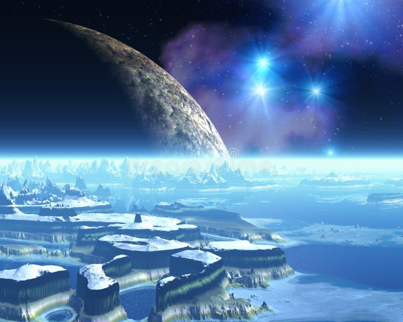 Planeta extranjero del hielo stock de ilustración