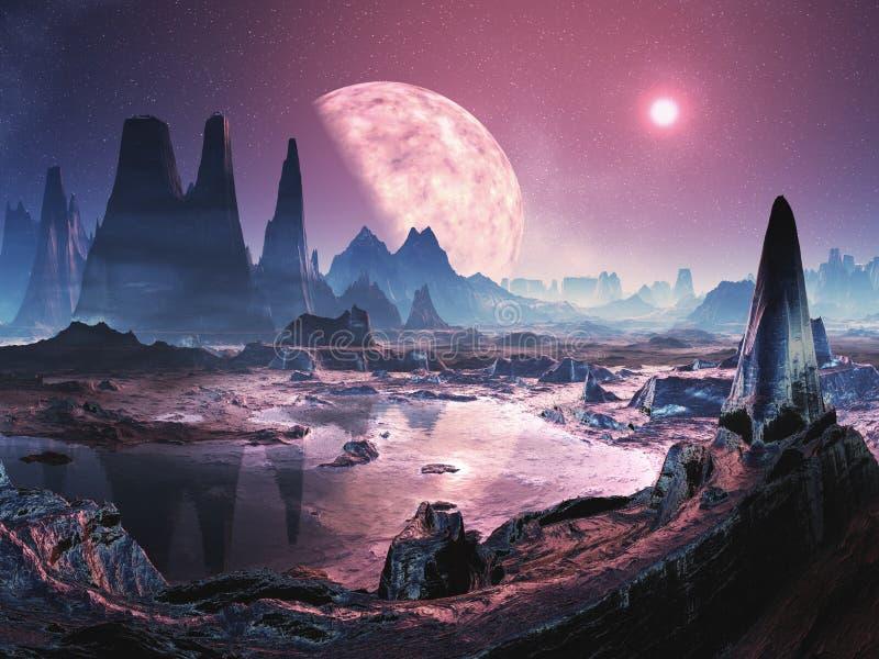 Planeta extranjero deshabitado ilustración del vector