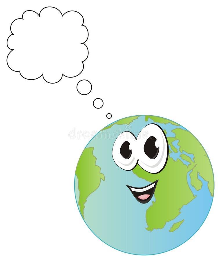 Planeta feliz con la muestra limpia ilustración del vector