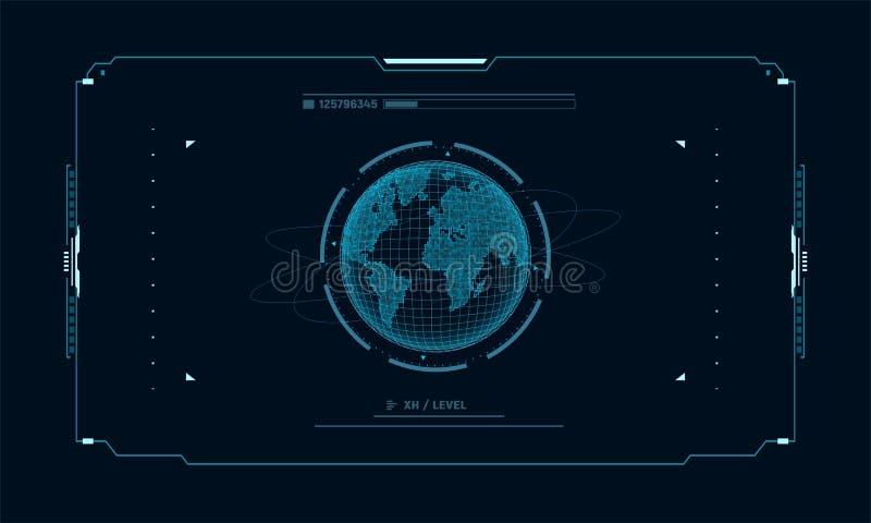 Planeta futurista na tela do alvo do painel de controle Relação do fi do sci do conceito para o vr e os jogos de vídeo Ilustração ilustração royalty free