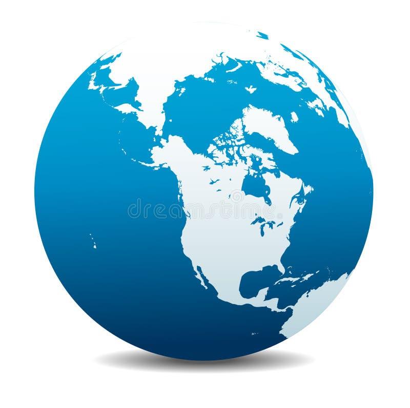 Planeta global do mundo de Canadá, de America do Norte, de Sibéria e de Japão, ícone da terra ilustração do vetor