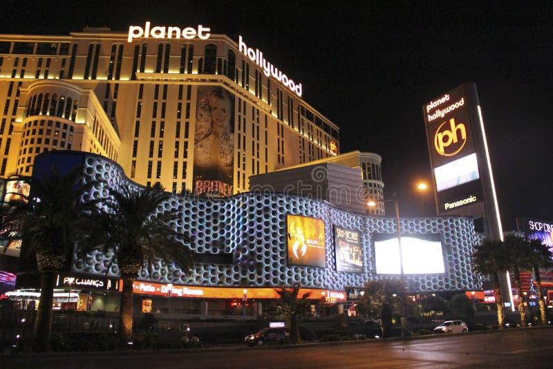 Planeta Hollywood de Las Vegas por noche fotografía de archivo