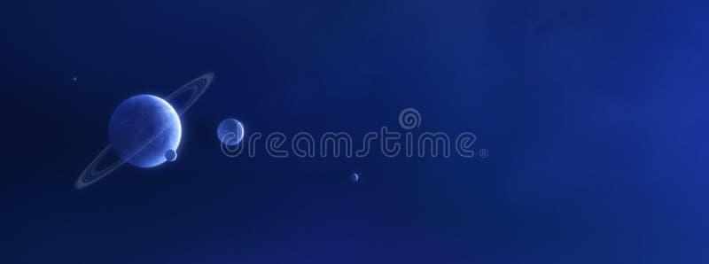 Planeta i księżyc w błękitnej mgławicie ilustracja wektor