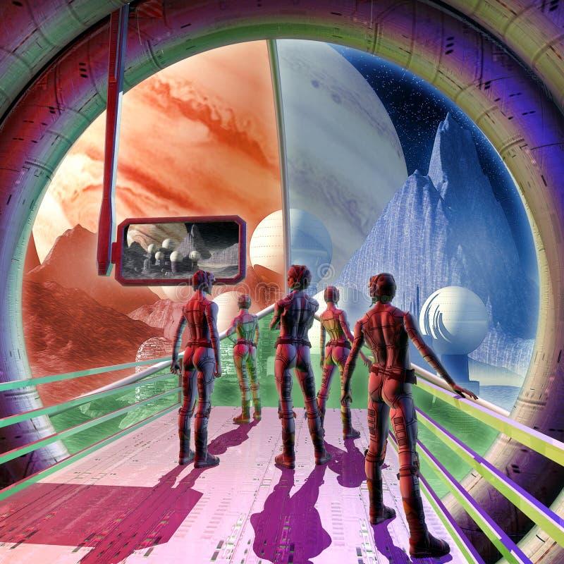 Planeta interior y extranjero de la nave espacial stock de ilustración