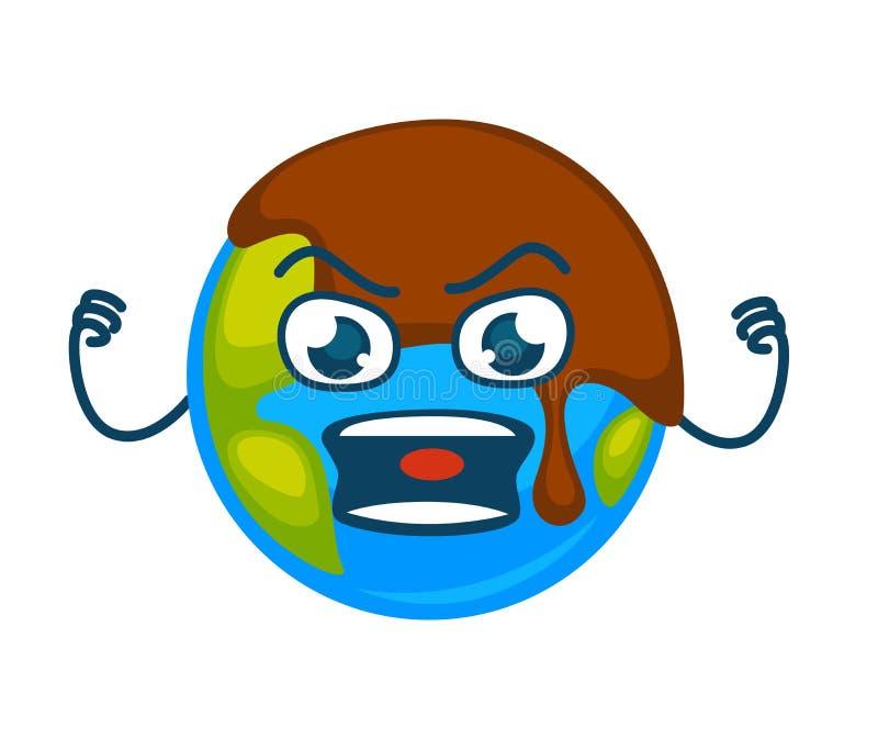 Planeta irritado da terra coberto com a camada de lama ilustração royalty free