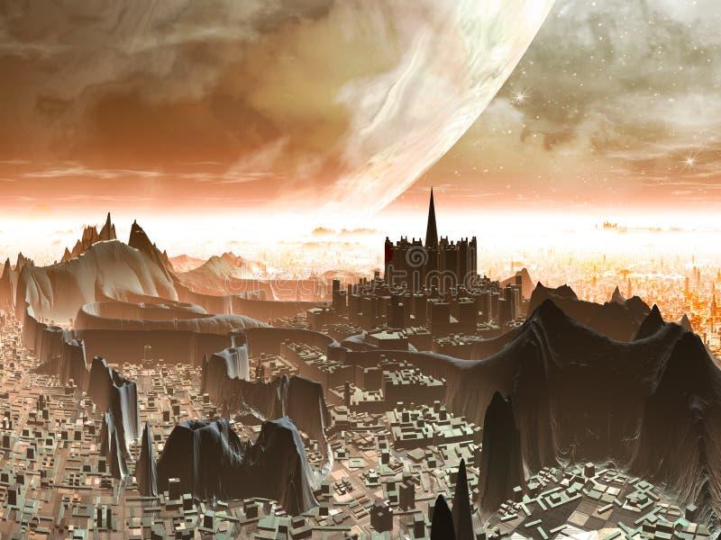 Planeta-levante-se sobre a metrópole estrangeira futurista ilustração do vetor