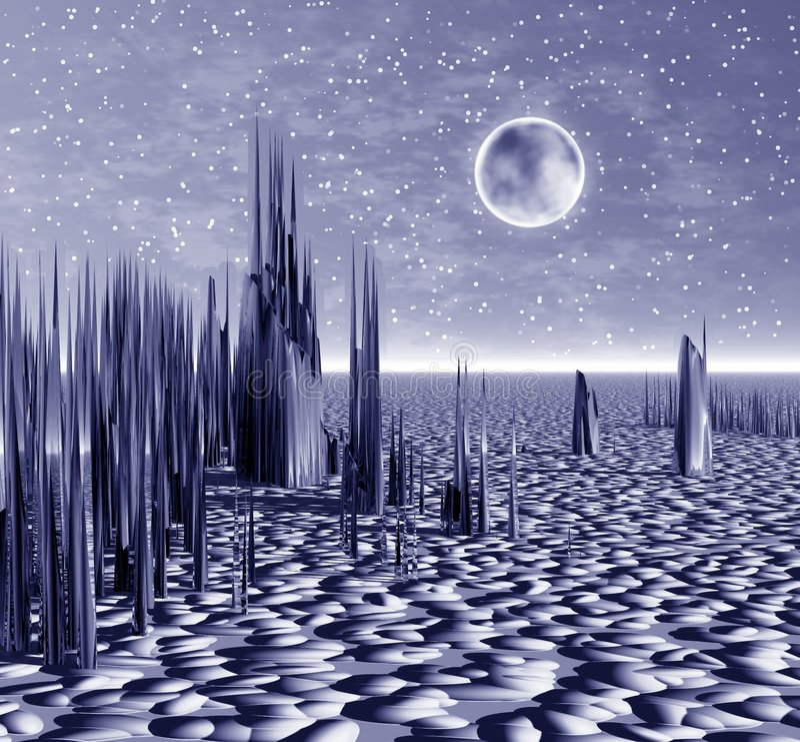 Planeta místico. Noche del espacio ilustración del vector