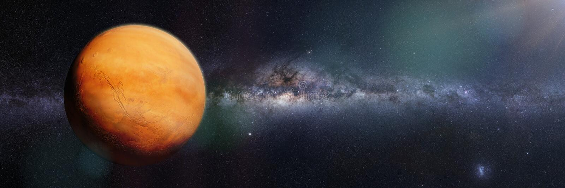 Planeta Mąci z burzą piaskowa i chmury, zaświecać Milky sposobu galaxy 3d odpłacają się sztandar, elementy ten wizerunek meblują  obrazy stock