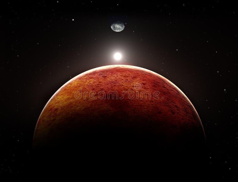 Planeta Mars z księżyc ilustracji
