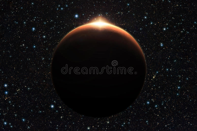 Planeta Mars z wschodem słońca w przestrzeni (elementy ten wizerunku furnis obrazy royalty free