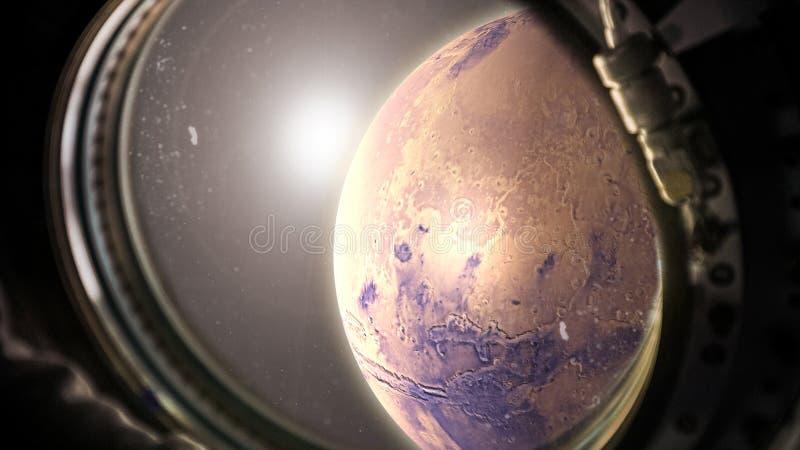 Planeta Marte en espacio con la opinión de la luz del sol de la ventana de la nave espacial fotos de archivo