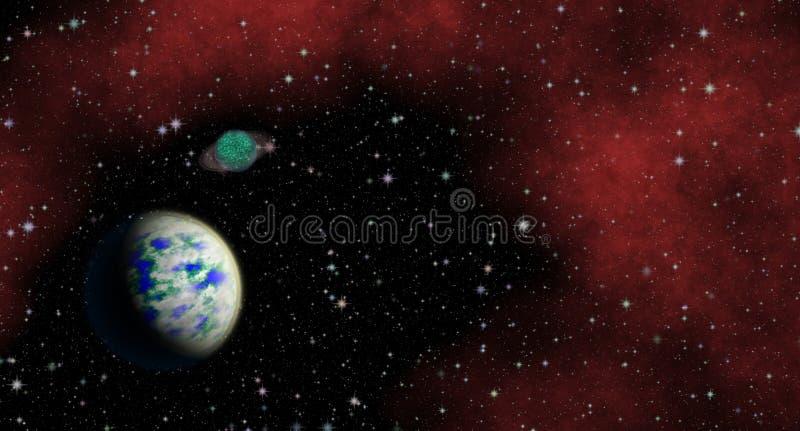 Planeta misterioso, desconhecido no universo Vida entre as estrelas Vista panorâmico no espaço profundo ilustração stock