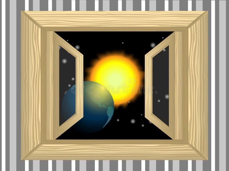 Planeta na janela ilustração do vetor