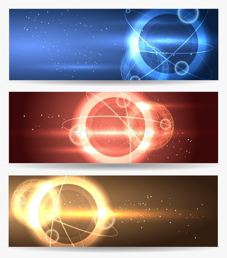 Planeta nas bandeiras do espaço ajustadas ilustração royalty free