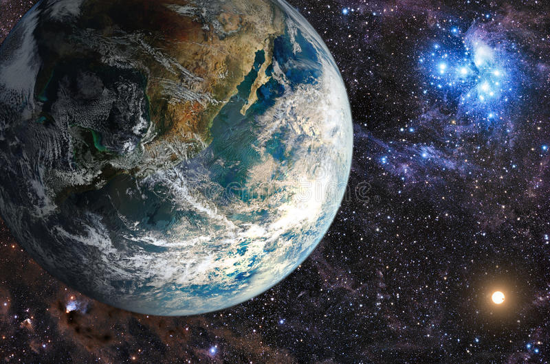 Planeta nas galáxias do fundo e nas estrelas luminosas ilustração stock