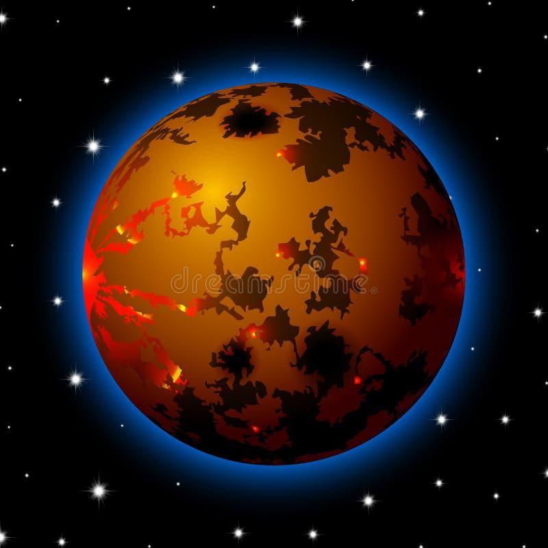 Planeta no espaço com estrelas, desenhos animados brilhantes ou estilo do jogo ilustração do vetor