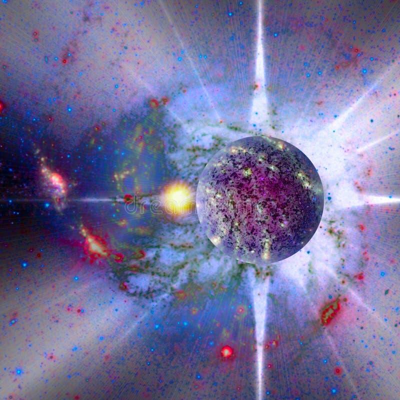 planeta novo no mapa do espaço ilustração do vetor