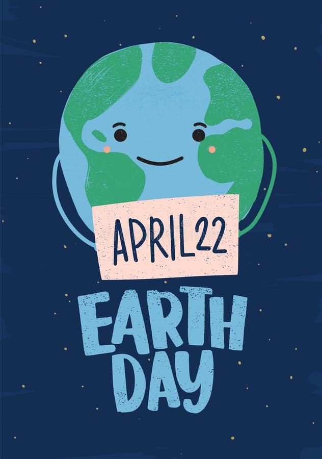 Planeta o globo con la cara sonriente que lleva a cabo la muestra con la fecha del 22 de abril Aviador del Día de la Tierra, cart stock de ilustración
