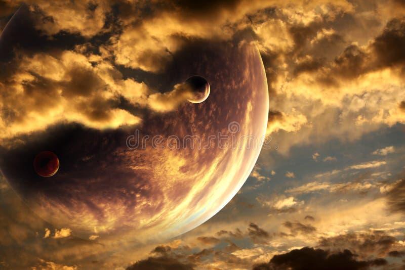 planeta obcy zmierzch royalty ilustracja