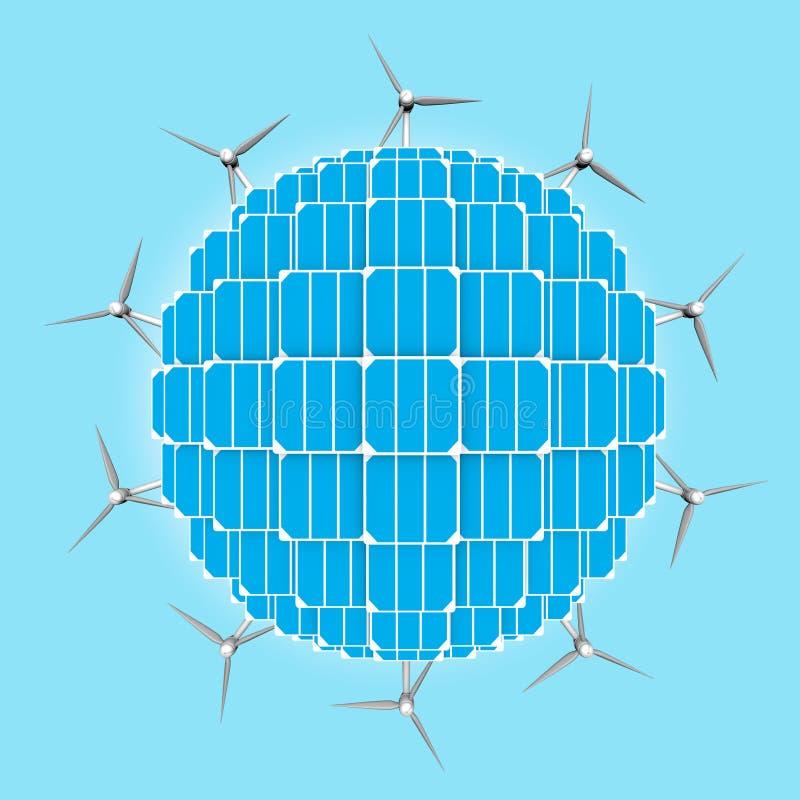 Planeta, painéis solares, turbinas eólicas que generalizam energias limpas ilustração stock