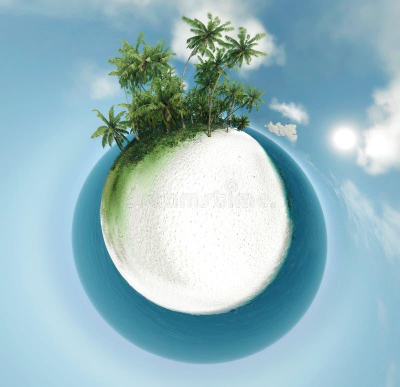 Planeta pequeno, oceano, ilha tropical, ilustração das palmeiras 3D ilustração stock