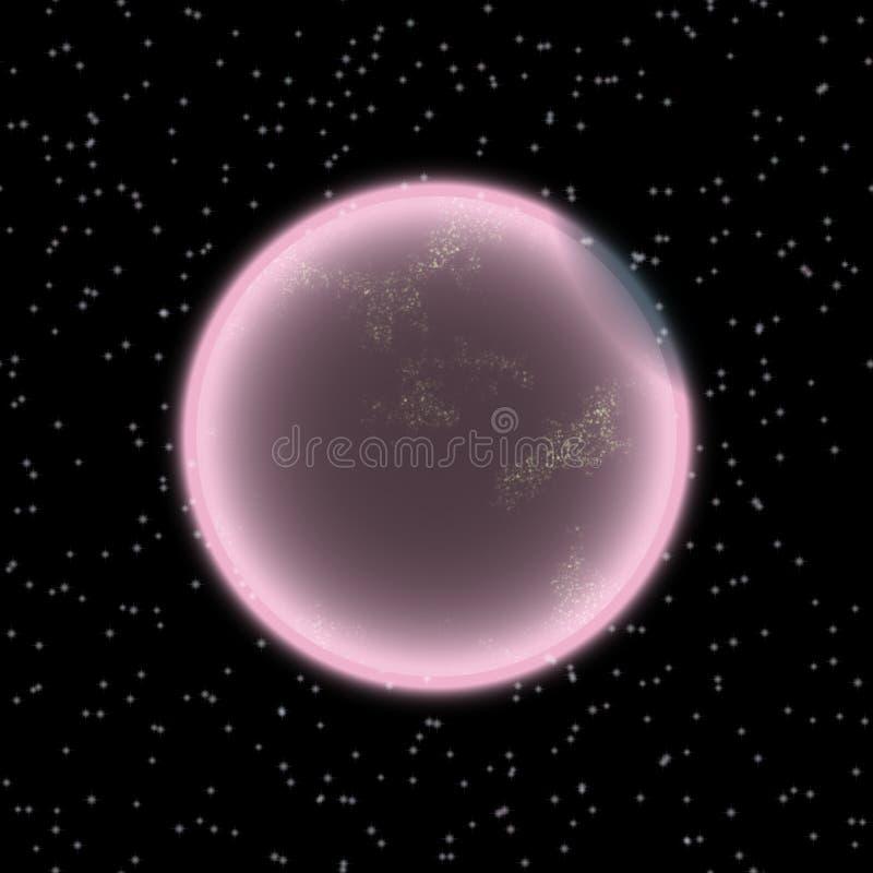 Planeta perdido no canto distante do universo Um planeta com a atmosfera shinning escondida em algum lugar ilustração royalty free