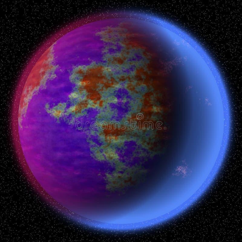 Planeta perdido no canto distante do universo Um planeta com a atmosfera shinning escondida em algum lugar ilustração do vetor