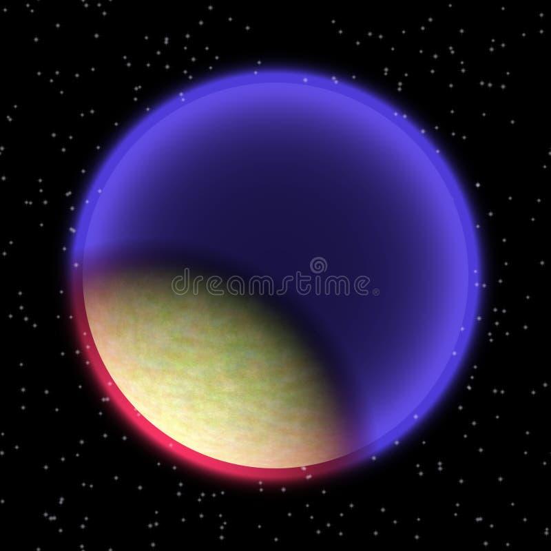 Planeta perdido no canto distante do universo Um planeta com a atmosfera shinning escondida em algum lugar ilustração stock