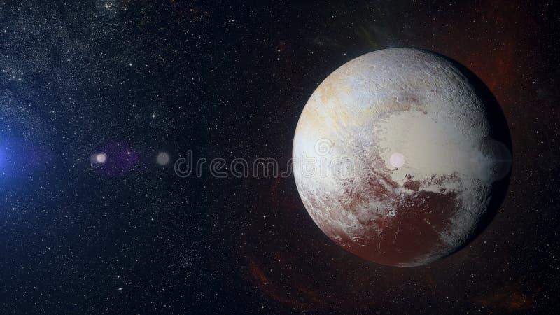 Planeta Plutón de la Sistema Solar en fondo de la nebulosa fotos de archivo libres de regalías
