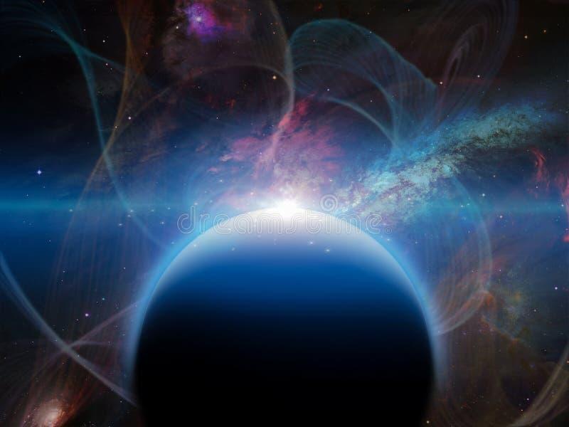 Planeta preto no espaço vívido ilustração royalty free