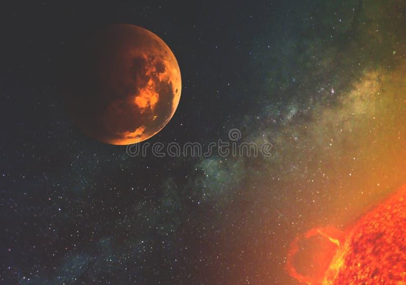 Planeta przeciw drodze mlecznej w słońcu z uwolnieniem energia w przestrzeń i jaskrawy błysk Elementy ten wizerunku furni ilustracja wektor
