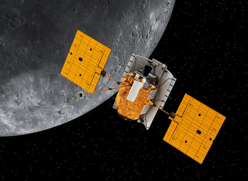 Planeta que está en órbita interplanetario Mercury de la estación espacial ilustración del vector