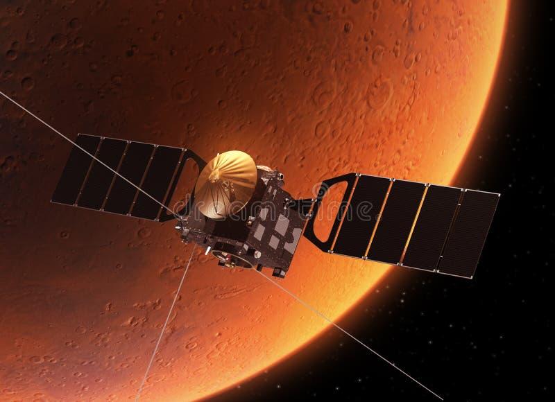 Planeta que está en órbita Marte de la nave espacial stock de ilustración