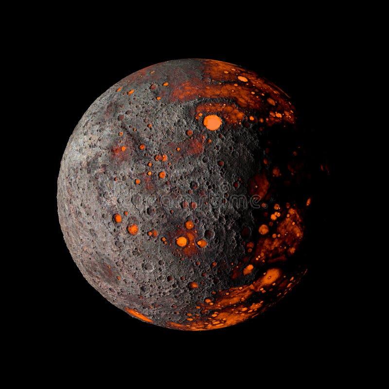 Planeta quente estrangeiro na rendição preta do fundo 3d ilustração royalty free