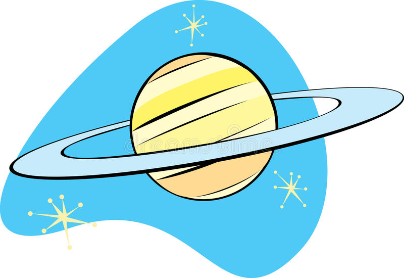 Planeta retro Saturno stock de ilustración
