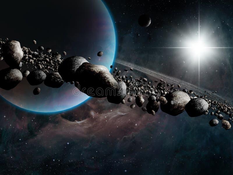 Planeta rodeado ilustração stock