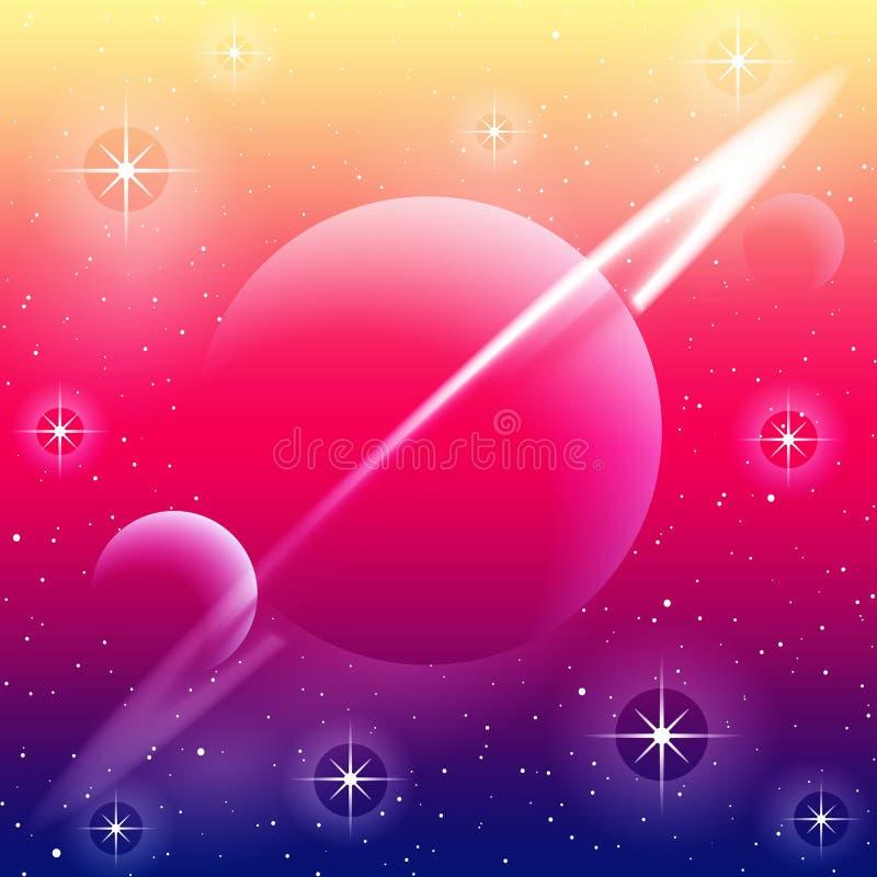 Planeta rodeado em cores brilhantes fotos de stock