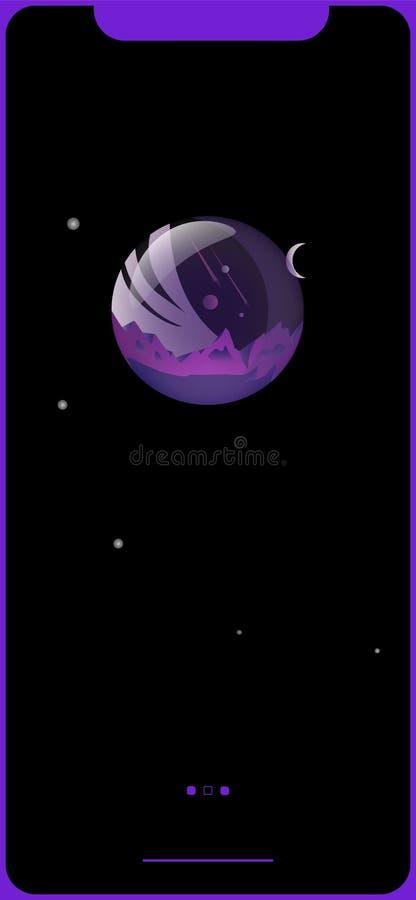 Planeta roxo ilustração royalty free