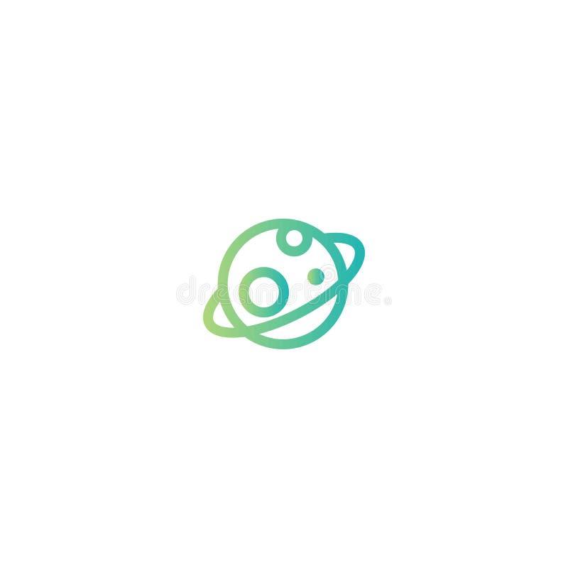Planeta Saturn lub Jupiter Błękita i zielonej liny ikona odizolowywająca na bielu royalty ilustracja