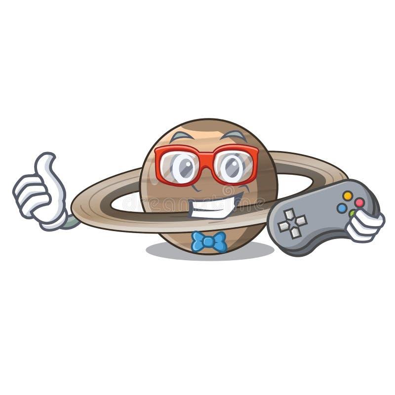 Planeta Saturno do Gamer no formulário dos desenhos animados ilustração royalty free