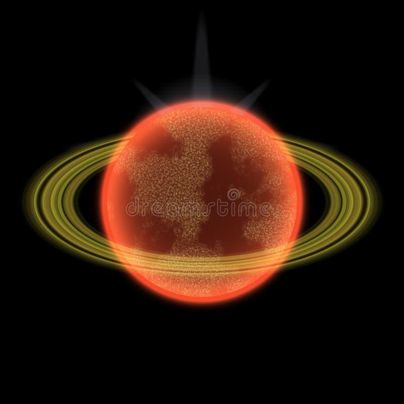 Planeta Shinning en uniferse lejano Planeta abstracto con el anillo colorido en alguna parte stock de ilustración